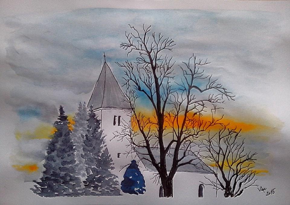 Kostel v Kotešové zimní