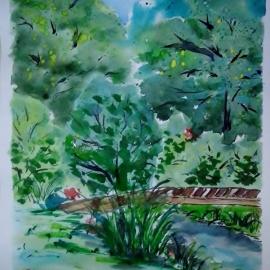 U rybníka na lávce